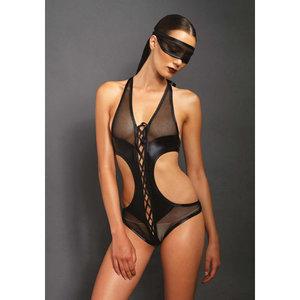 Body met open kruis en bijpassend oogmasker - Zwart